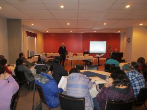 Phil Fontaine along with John and Gerry, facilitating an Innu leaders forum on health and healing  in February 2012